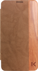 Back cover flip case for Samsung Galaxy Note 3, Cherry wood & Brown sheep line faux leather by The Kase Collection