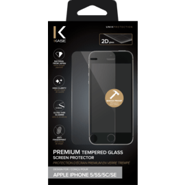 Protection d'écran premium en verre trempé pour Apple iPhone 5/5s/5C/SE, Transparent