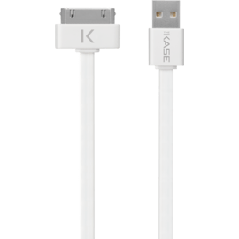 Cable plat 30 broches vers USB (1m) pour Apple, Blanc Lumineux