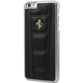 Ferrari Perforated Coque cuir veritable pour Apple iPhone 6 Plus/6s Plus, Noir, Cheval doré