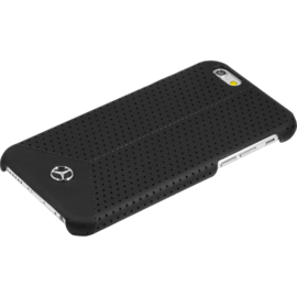 Mercedes Benz Pure Line Coque cuir perforé veritable pour Apple iPhone 6/6s, Noir