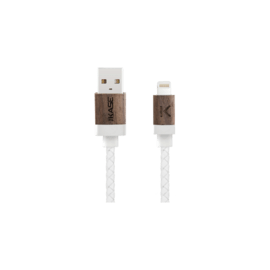 Câble Lightning certifié MFi Apple Charge/Sync (0.3M) Cuir veritable Bois de Noyer Blanc
