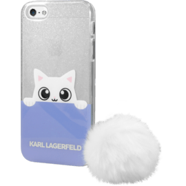 Karl Lagerfeld K-Peek A Boo coque silicone pour Apple iPhone 5/5s/SE, Blanc