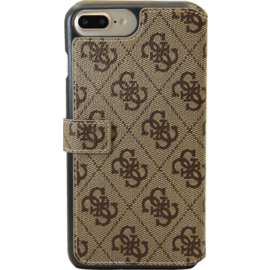 Guess Uptown Étui pivotant de type livre pour Apple iPhone 6 Plus / 6s Plus / 7 Plus / 8 Plus, Marron
