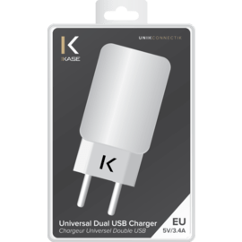 Chargeur Universel Double USB (EU) 3.4A, Blanc Lumineux