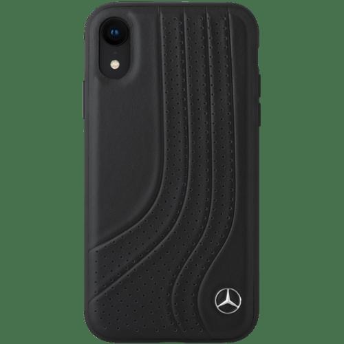 Mercedes-Benz New Bow II Coque en cuir véritable perforé pour Apple iPhone XR, Noir