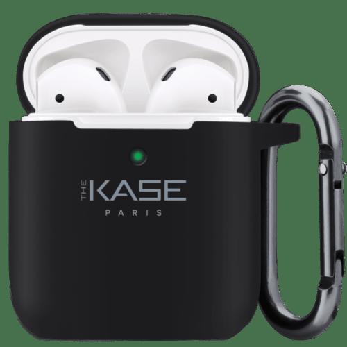 Coque chargement sans fil pour Apple AirPods en gel de silicone doux, Noir satin