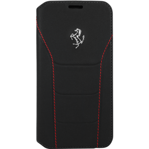 Ferrari 488 Coque clapet en cuir veritable pour Samsung Galaxy S7 Edge, Noir